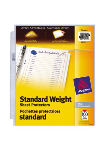 Avery® 75535 - Standard Weight Sheet Protectors,  8-1/2in. x 11in., Clear
