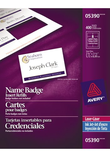 Avery® 05390 - Cartes pour badges ,  2-1/4 x 3-1/2, Blanc