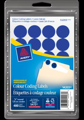 Avery<sup>®</sup> Étiquettes à codage couleur amovibles pour imprimantes à laser ou jet d'encre - Avery<sup>®</sup> Étiquettes à codage couleur amovibles