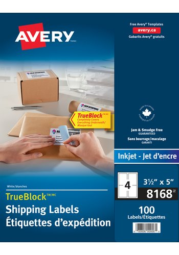 Shipping Labels - Avery® 08168,  3-1/2in. x 5in., Rectangle, White