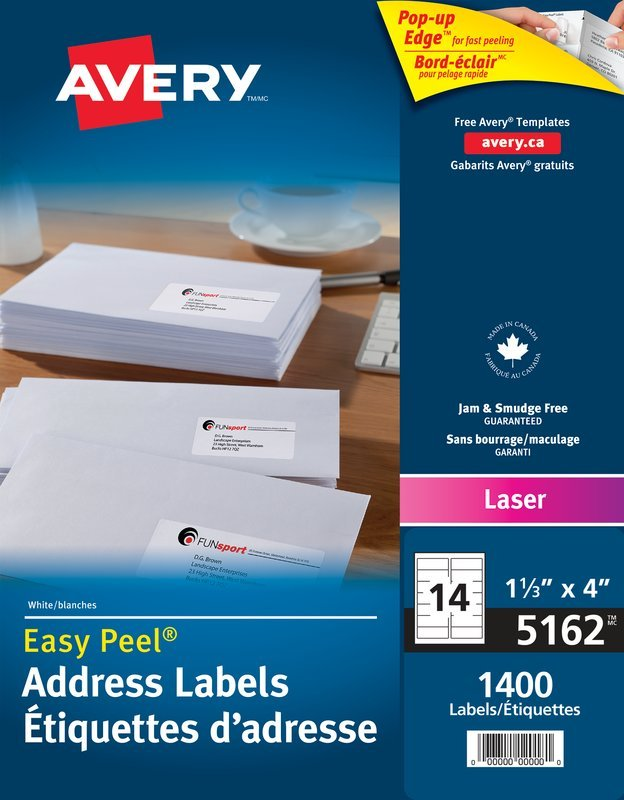 Avery 5162 Address Labels 1 13 X 4 Rectangle White