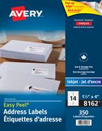 Avery<sup>&reg;</sup> Étiquettes d'adresse avec Easy Peel<sup>&reg;</sup> pour imprimantes à jet d'encre 8162