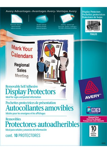 Avery Removable Self Adhesive Display Protectors, 78620, 8-1/2in. x 11in.,Clear