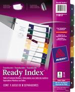 Avery<sup>&reg;</sup> Ready Index Intercalaires Translucides avec Table des Matières pour imprimantes à laser ou jet d'encre 11817