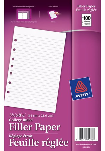 Avery® 14230 - Feuilles de Rechange,  5-1/2in. x 8-1/2in., Blanc