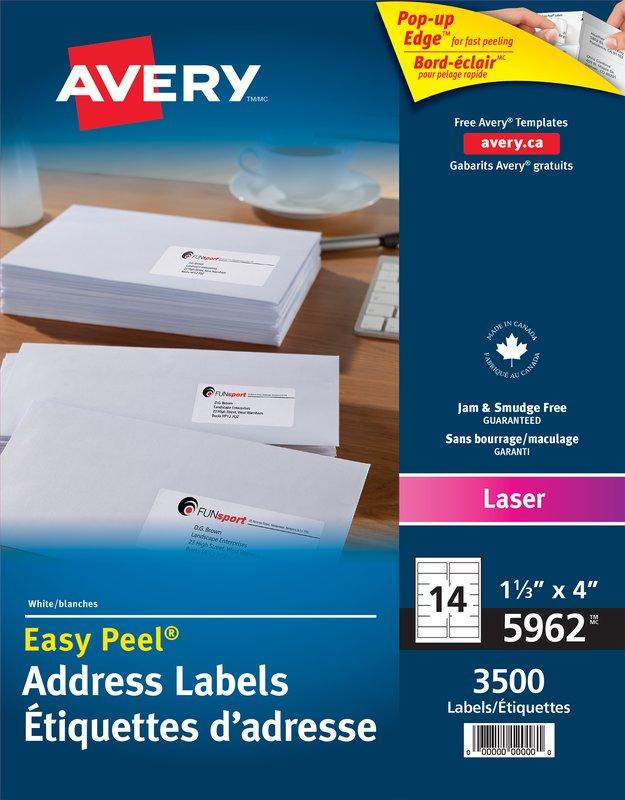 Avery 5962 Address Labels 1 13 X 4 Rectangle White