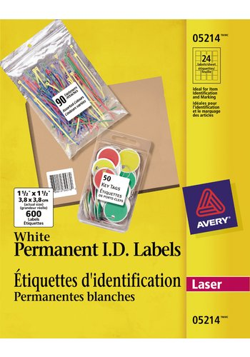 Avery® 05214 - Étiquettes d'identification pemanentes,  1-1/2in. x 1-1/2in., Carré, Blanc