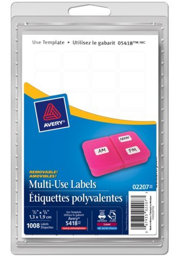 Avery® 02207 - Multi-Use Removable Labels,  3/4in. x 1/2in., Rectangle, White