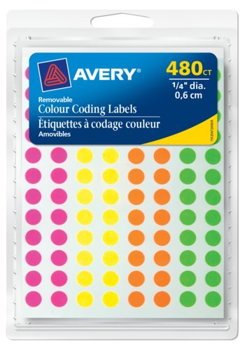 Avery Removable Colour Coding Labels,  1/4in. dia, 480 pk - Avery