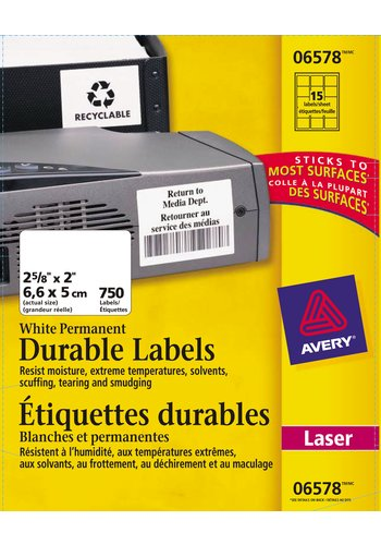 Avery® 06578 - Étiquettes d'identification durables ,  2-5/8in. x 2in., Rectangulaire, Blanc