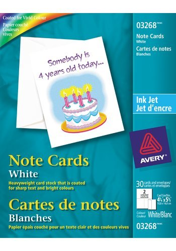 Avery® 03268 - Cartes de notes ,  4-1/4in. x 5-1/2in., Blanc