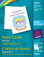 Avery<sup>&reg;</sup> Cartes de notes pour imprimantes à jet d'encre 3268
