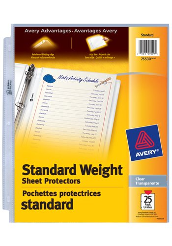 Avery® 75530 - Standard Weight Sheet Protectors,  8-1/2in. x 11in., Clear