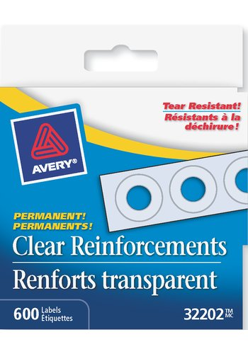 Avery Clear Self-Adhesive Reinforcement Labels, 32202, 1/4in., Clear Mylar