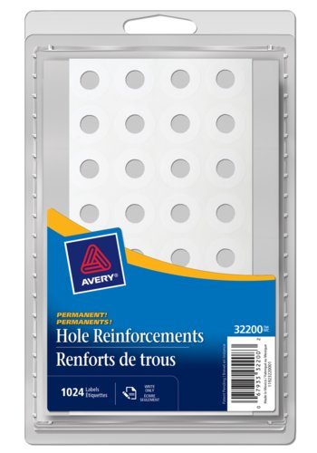 Avery® 32200 - Renforts de trous Autocollants blancs,  1/2in., Rond, Blanc