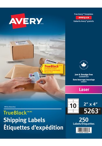 Avery® 05263 - Shipping Labels ,  2in. x 4in., Rectangle, White