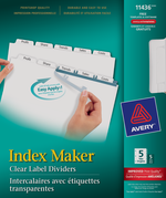 Avery<sup>&reg;</sup> Index Maker Intercalaires avec bande d'étiquettes transparentes Easy Apply<sup>MC</sup> pour imprimantes à laser ou jet d'encre 11436