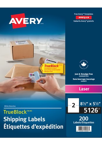 Avery® 05126 - Shipping Labels ,  8-1/2in. x 5-1/2in., Rectangle, White