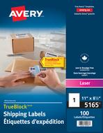 Avery<sup>&reg;</sup> Étiquettes d'expédition avec Technologie TrueBlock<sup>MC</sup> pour imprimantes à laser 5165