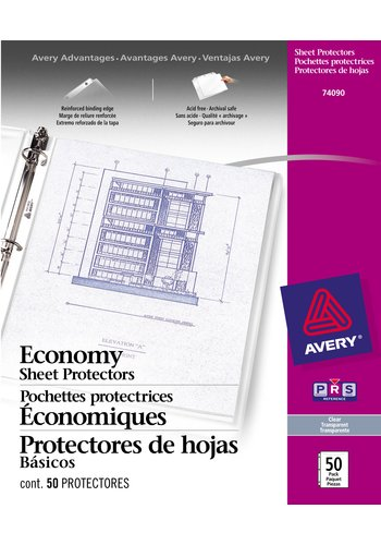 Avery® 74090 - Economy Weight Sheet Protectors,  8-1/2in. x 11, Clear