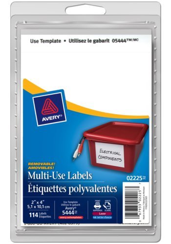 Avery® 02225 - Multi-Use Removable Labels,  4in. x 2in., Rectangle, White