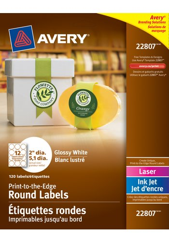 Avery Glossy White Round Labels 22807 2 Diameter Print To The Edge