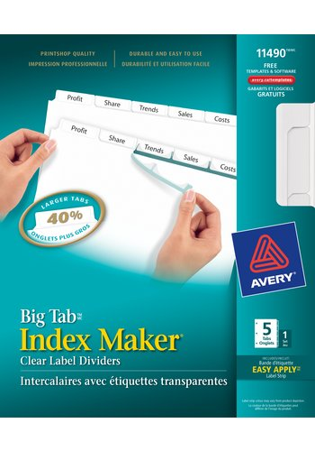 Avery® 11490 - Big Tab(MC) Index Maker Intercalaires ,  8-1/2in. x 11in., Blanc