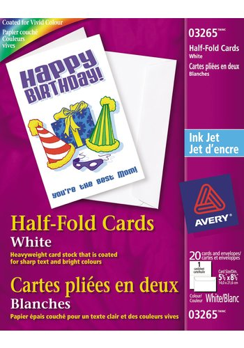 Printable Half-Fold Greeting Cards , Avery® 03265, 5-1/2in. x 8-1/2in., White