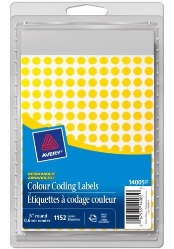Avery® 14005 - Removable Colour Coding Labels,  1/4in., Round, Yellow