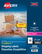 Avery<sup>&reg;</sup> Étiquettes d'expédition avec Technologie TrueBlock<sup>MC</sup> pour imprimantes à laser 5963