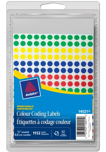 Avery® 14021 - Removable Colour Coding Labels,  1/4in., Round, Assorted Primary