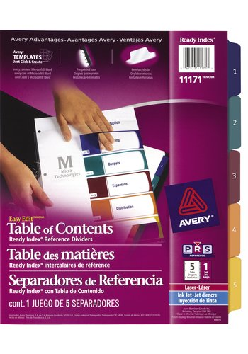 Avery® 11171 - Ready Index Intercalaires ,  8-1/2in. x 11in., Multi-couleur
