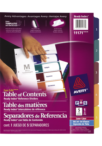 Avery<sup>&reg;</sup> Ready Index Intercalaires avec Table des Matières Easy Edit pour imprimantes à laser ou jet d'encre - Avery<sup>&reg;</sup> Ready Index Intercalaires