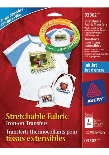 Stretchable Custom T-Shirt Tranfers - Avery® 03302,  8-1/2in. x 11in., White