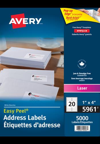 Avery<sup>&reg;</sup> Étiquettes d'adresse avec Easy Peel<sup>&reg;</sup> pour imprimantes à laser - Avery<sup>&reg;</sup> Étiquettes d'adresse