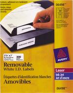 Avery<sup>&reg;</sup> Étiquettes d'identification Amovibles pour imprimantes à laser ou jet d'encre 6498