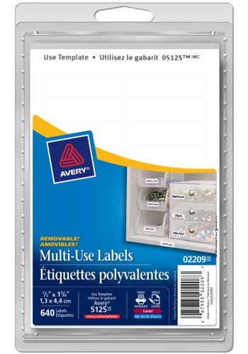 Avery® 02209 - Multi-Use Removable Labels,  1-3/4in. x 1/2in., Rectangle, White