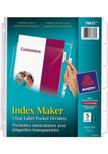 Avery 78613 index maker clear label view dividers 8 1 for Avery 8 tab clear label dividers template
