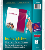 Avery<sup>&reg;</sup> Index Maker<sup>&reg;</sup> Clear Label View Dividers 5 tabs 78613