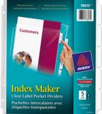 Avery<sup>&reg;</sup> Index Maker Pochettes intercalaires avec étiquettes transparentes 78613