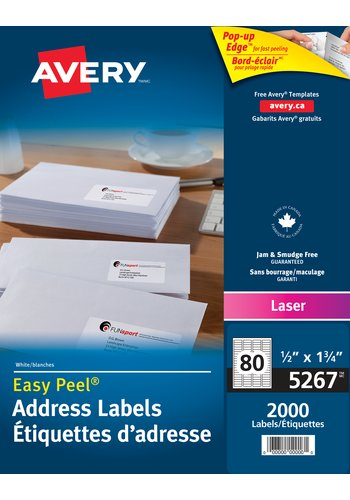 Avery® 5267 - Address Labels ,  1/2in. x 1-3/4in., Rectangle, White