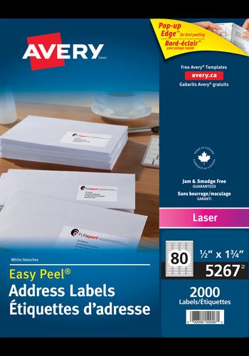 Avery 5267 Address Labels 12 X 1 34 Rectangle White
