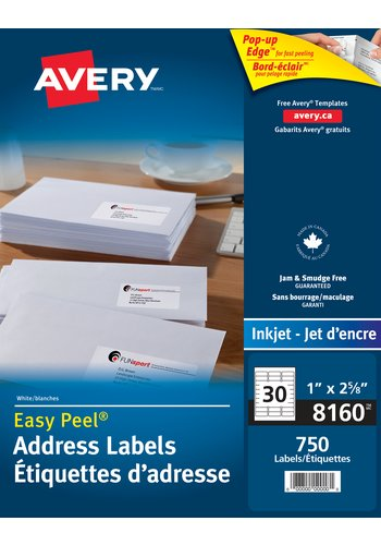 Avery 8160 address labels 1 x 2 5 8 rectangle white for Avery template 5167 download