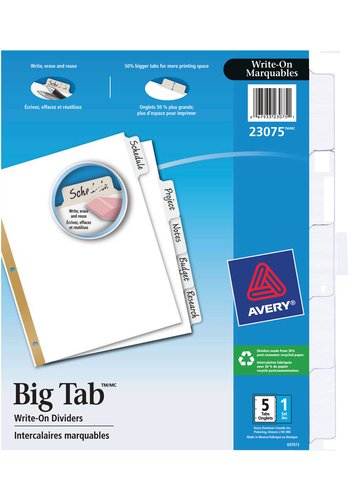 Avery® 23075 - Intercalaires Marquables à gros onglets Big Tab,  8-1/2in. x 11in., Blanc