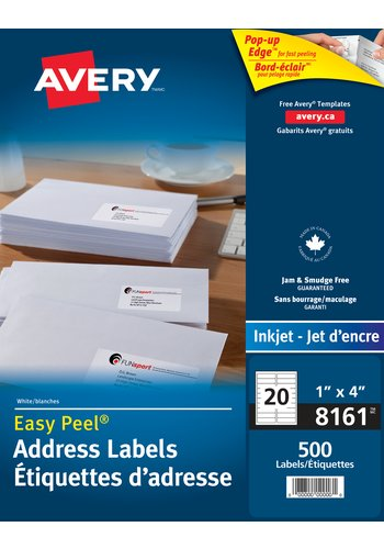 Avery® 8161 - Address Labels ,  1in. x 4in., Rectangle, White