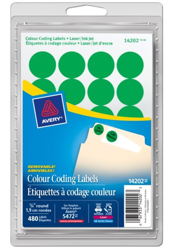 Avery® 14202 - Removable Colour Coding Labels ,  3/4in., Round, Green