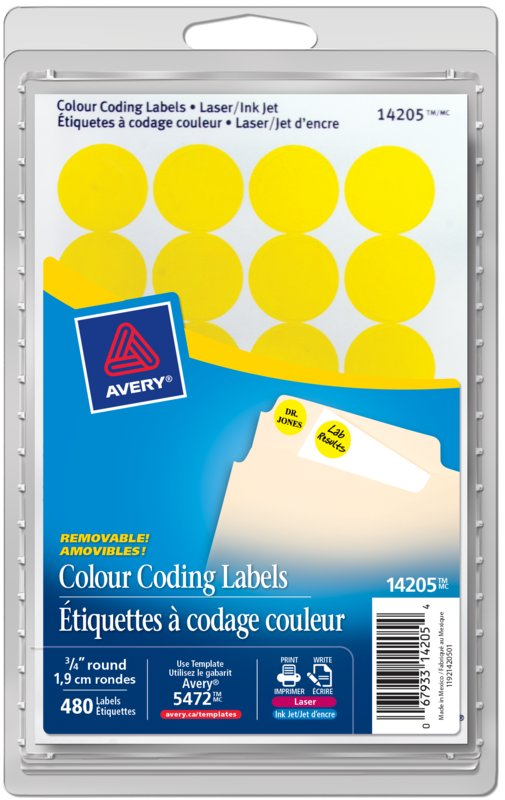 Avery 14205 Removable Colour Coding Labels 34 Round Yellow