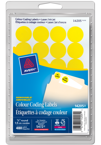 Avery<sup>®</sup> Removable Colour Coding Labels - Avery<sup>®</sup> Removable Colour Coding Labels