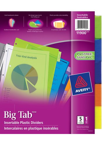 Avery® 11900 - Big Tab™ Insertable Plastic Dividers ,  9-1/4in. x 11-1/8in., Multi-colour