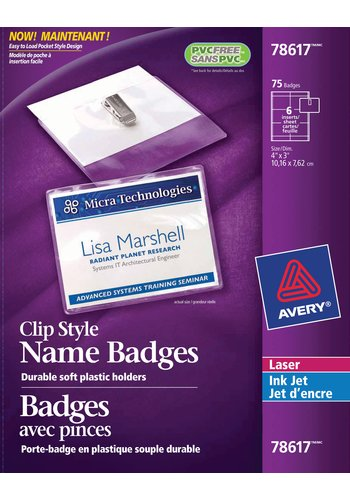 Avery® 78617 - Garment Friendly Clip Style Name Badge Kit ,  4in. x 3in., Clear